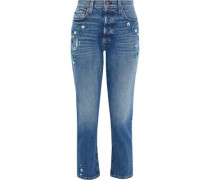Embroidered Distressed High-rise Slim-leg Jeans Mid Denim  4