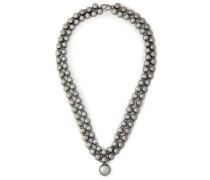 Gunmetal-tone and bead necklace