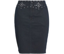 Embellished Denim Mini Pencil Skirt Black  4