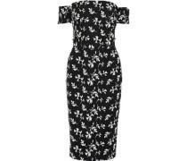 Off-the-shoulder Bow-embellished Embroidered Crepe Dress Black Size 12