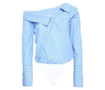Striped cotton-poplin bodysuit