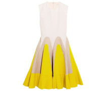 Linen-paneled cotton-poplin mini dress