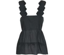 Lola Scalloped Cotton Top Black