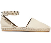 Rockstud Double Pebbled-leather Espadrilles Ivory