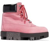 Telde patent leather-trimmed suede snow boots