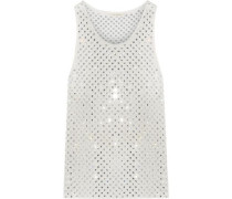 Crystal-embellished silk tank