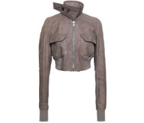 Cropped Leather Biker Jacket Taupe