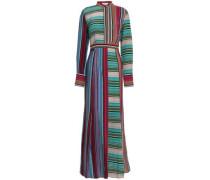 Striped silk crepe de chine maxi shirt dress