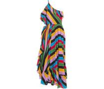 One-shoulder Striped Silk Crepe De Chine Maxi Dress Multicolor