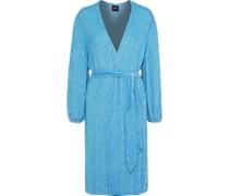 Woman Audrey Velvet-trimmed Sequined Chiffon Wrap Dress Turquoise