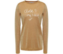 Woman Embroidered Metallic Knitted Sweater Gold