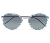Round-frame Acetate And Silver-tone Sunglasses Sky Blue Size --