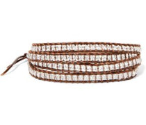 Leather, cord and beaded stone wrap bracelet