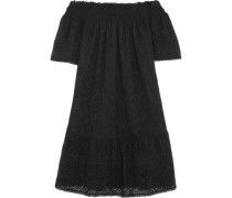 Off-the-shoulder shirred broderie anglais cotton-poplin dress