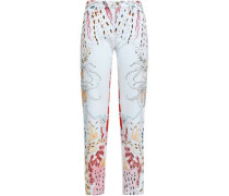 Printed Mid-rise Straight-leg Jeans Light Denim