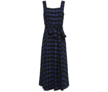 Stirling Belted Gingham Jacquard Midi Dress Navy Size 14