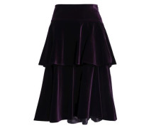 Tiered cotton-blend velvet skirt
