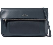 Panama Textured And Smooth-leather Shoulder Bag Navy Size --
