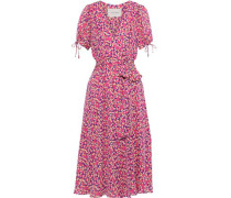 Woman Belted Printed Silk Crepe De Chine Midi Wrap Dress Bright Pink