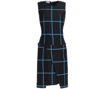 Wrap-effect checked wool and silk-blend mini dress