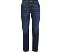 Cropped Faded High-rise Slim-leg Jeans Dark Denim  3
