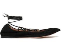 Studded Suede Ballet Flats Black