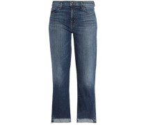 Frayed mid-rise bootcut jeans