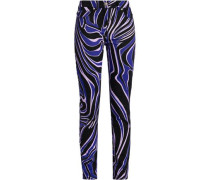 Printed Cotton-blend Twill Skinny Jeans Black  5