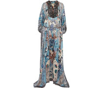 Lace-up bead-embellished printed silk-georgette maxi dress
