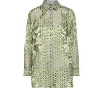 Printed Fil Coupé Chiffon Shirt Leaf Green