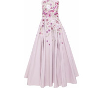 Strapless embroidered cotton and silk-blend faille maxi dress