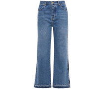 Woman Distressed High-rise Wide-leg Jeans Mid Denim