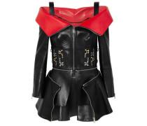 Cold-shoulder Embellished Two-tone Leather Top Black