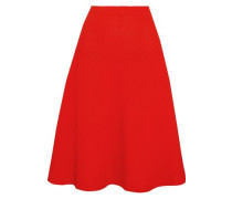 Ribbed Pointelle-knit Skirt Tomato Red