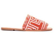 Fringe-trimmed Cotton-terry Slides Orange