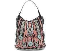 Embellished Woven Raffia Shoulder Bag Black Size --