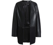 Emory zip-detailed leather and suede jacket