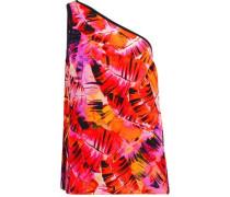 Parlatuvier one-shoulder printed silk-chiffon top