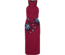Maxton paneled embroidered floral-print crepe dress