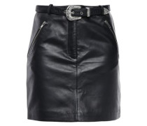 Zip-detailed Leather Mini Skirt Black
