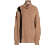 Velvet-trimmed cashmere turtleneck sweater