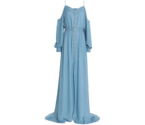 Cold-shoulder stretch-knit gown