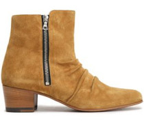 Ruched Suede Ankle Boots Camel