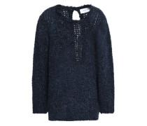 Lace-up Bouclé-knit Sweater Navy