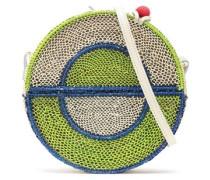 Color-block straw shoulder bag