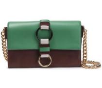 Embellished Color-block Leather Shoulder Bag Chocolate Size --