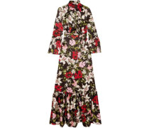 Stephanie Fluted Floral-print Silk-satin Gown Black