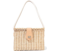 Mia Leather-trimmed Wicker Shoulder Bag Beige Size --