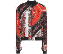 Printed crepe bomber jacket