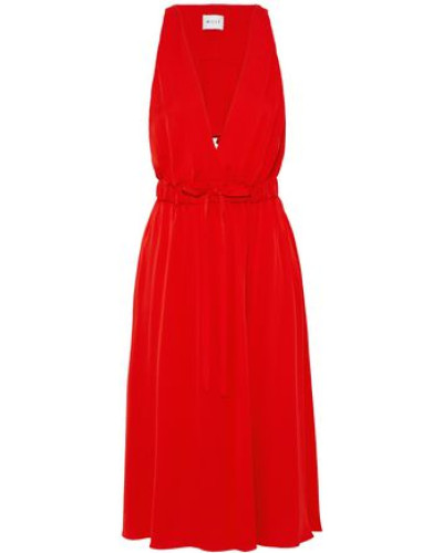 Reese cutout ruffled stretch-silk dress